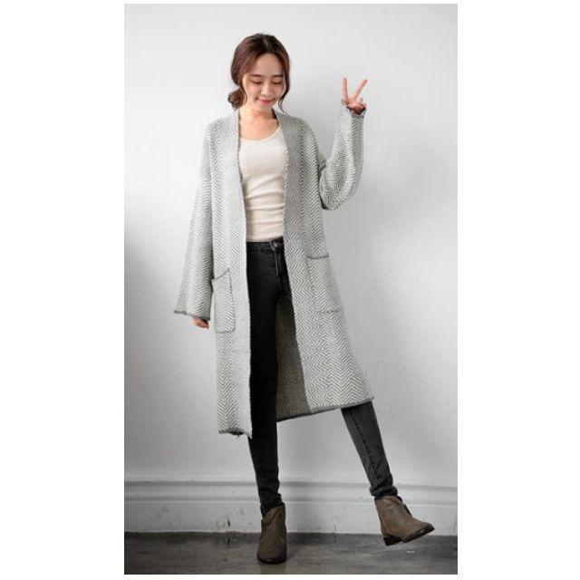 韓版鋸齒鉤織開襟雙口袋針織外套