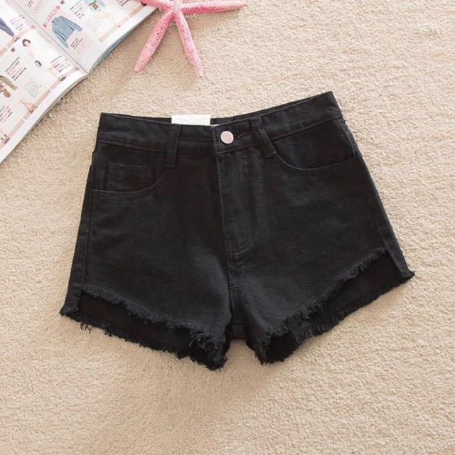 ❤️前短後長黑色牛仔短褲