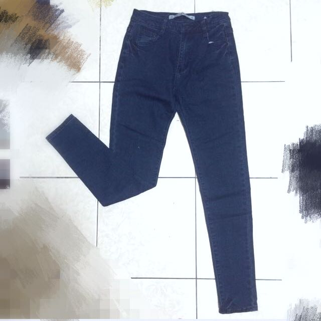 (大降價!)深藍色顯瘦高腰牛仔褲