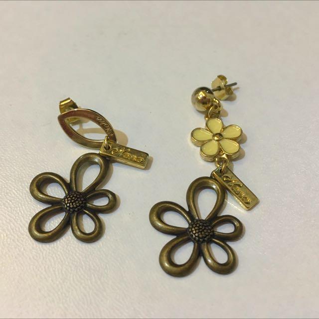 黃銅 花朵 垂墜式耳環