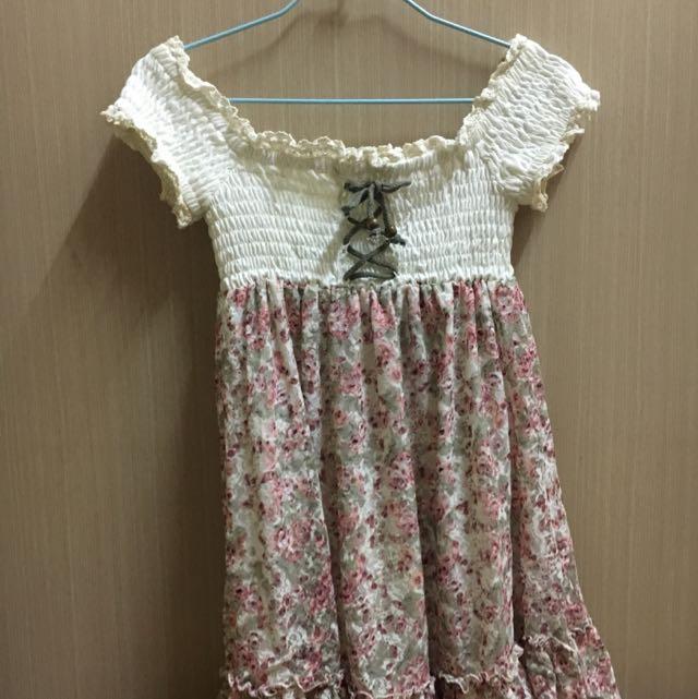 日系 白色 碎花洋裝