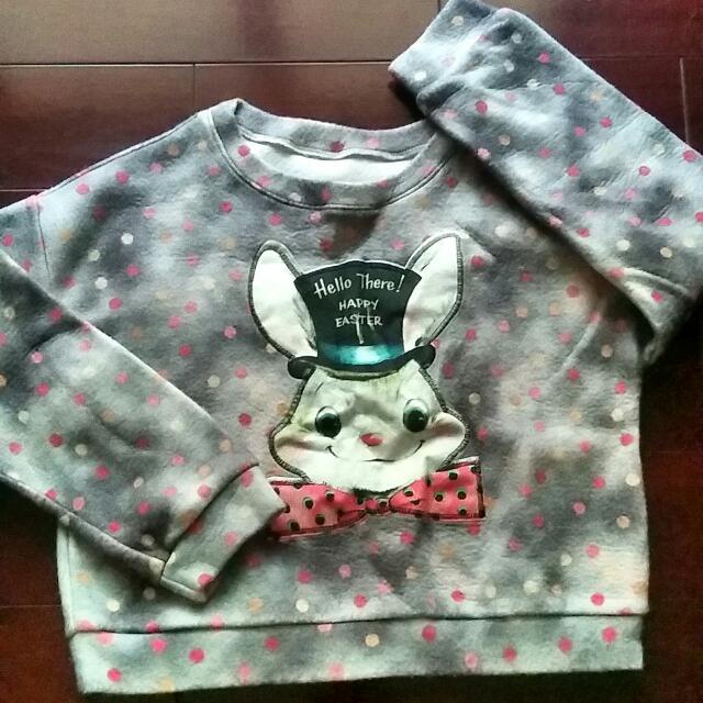 復活節兔 長袖上衣 短版 絨面 苛苛 苛其靈 刺繡