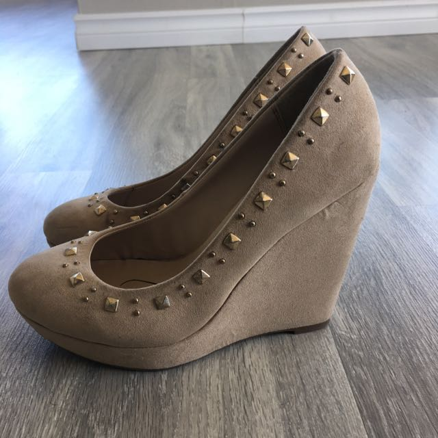 Bata Cream Suede Studded Wedge Heels