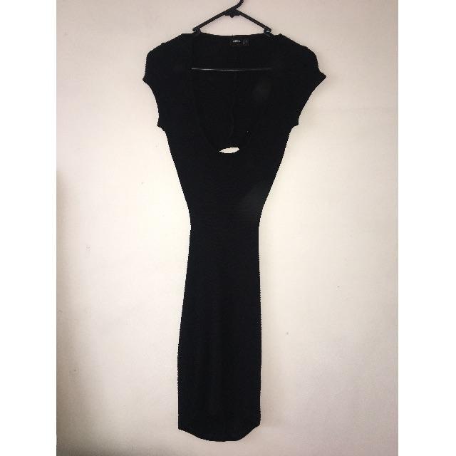 Black Asos Tight Ribbed Cut Out Dress