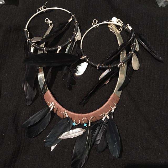Black Feather Set Necklass And Earrings