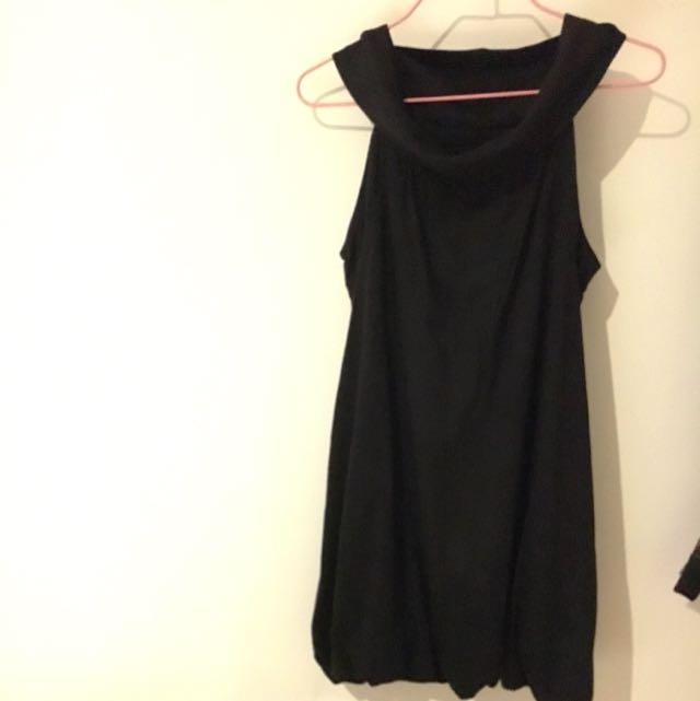 Black Velvet High Neck Evening Dress
