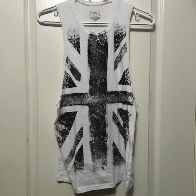 Black-and-White UK Flag Muscle Tee