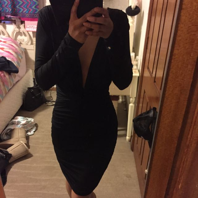 Bodycon Ruched Black Long Sleeve Low Neck Dress Xs