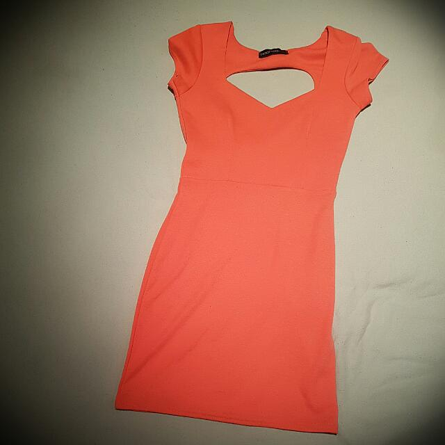 Boohoo Coral Sweetheart Dress Size 8