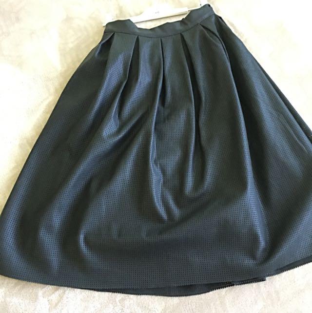 Brand New Knee Length Laser-Cut Leather Skirt