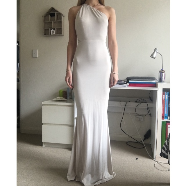Champagne Coloured Formal Dress with Strappy Back