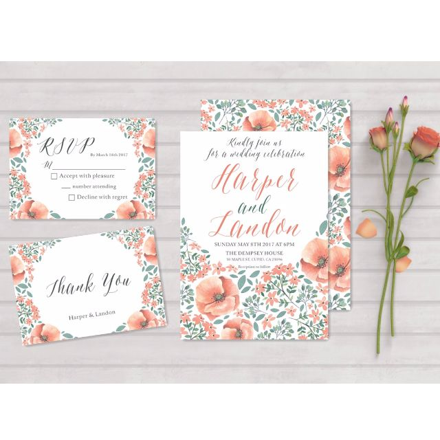Customized Wedding Invitations Rsvp Thank You Cards 085