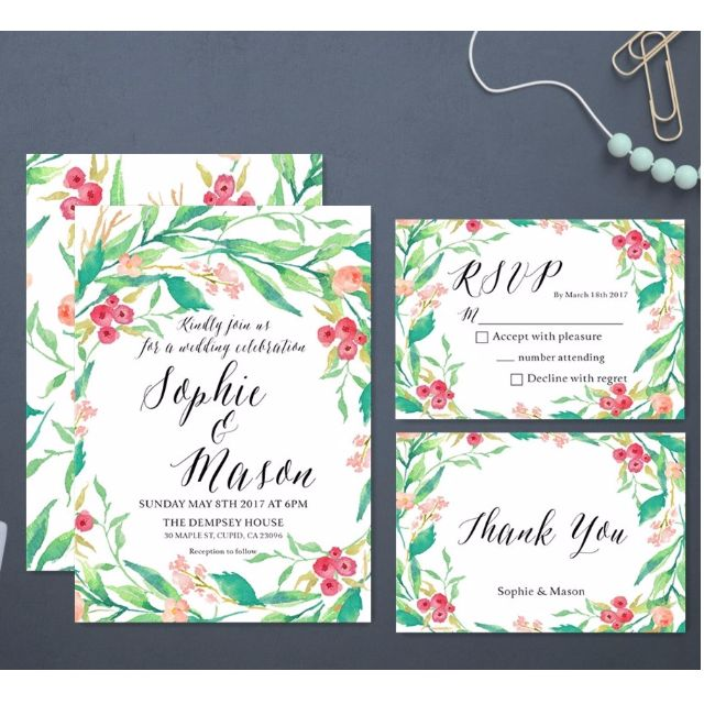 Customized wedding invitations rsvp thank you cards 085pc a6 photo photo stopboris Image collections
