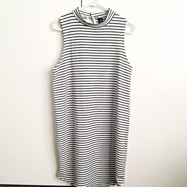 High-neck Stripe Dress