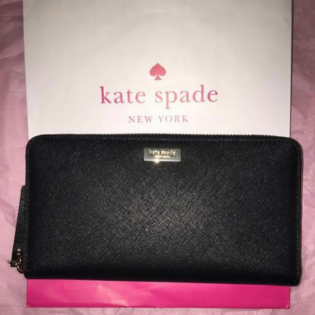 Kate Spade Newbury Lane Black Leather Continental Wallet