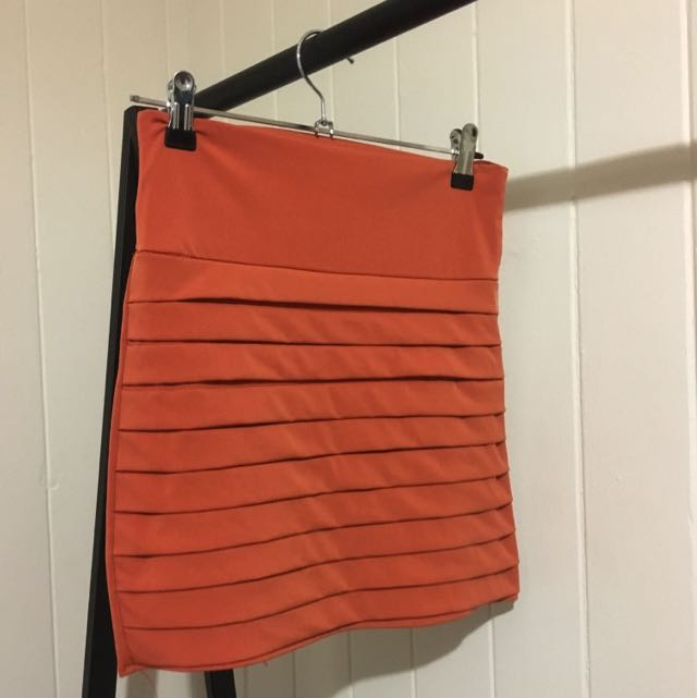 ORANGE TIGHT MINI SKIRT