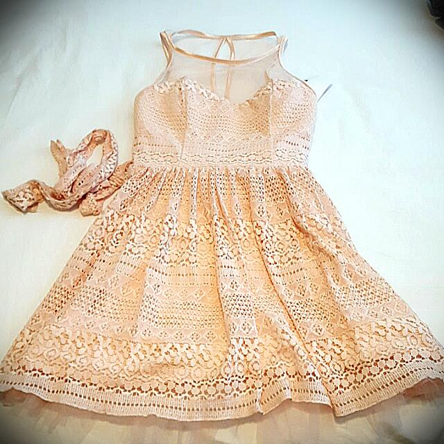 Peach/Baby Pink Lace Fit and Flare