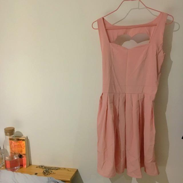 Pink Heart Cutout Dress