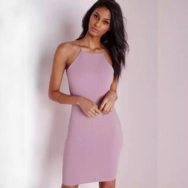 [PO DS18] Cut In Shoulder Spag Strap Bodycon Dress