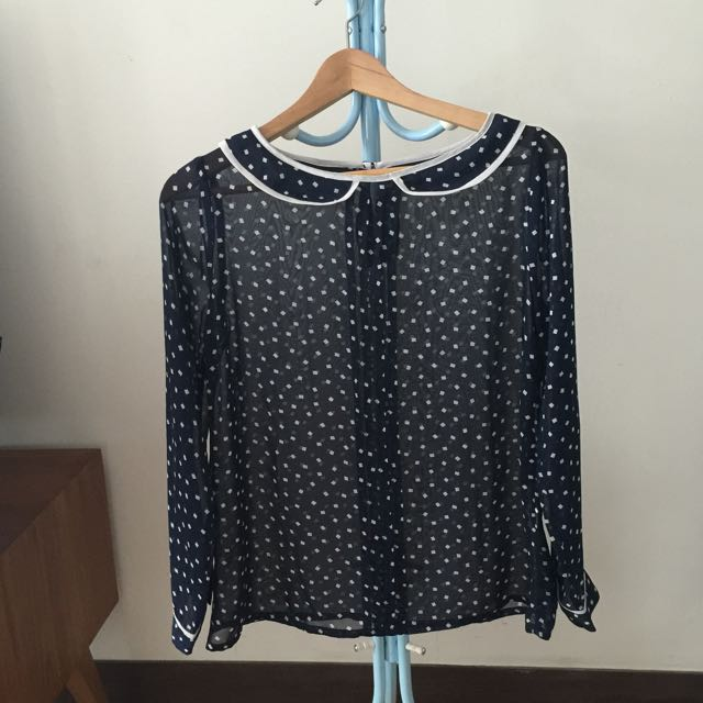Preloved Navy Blue See Through Top