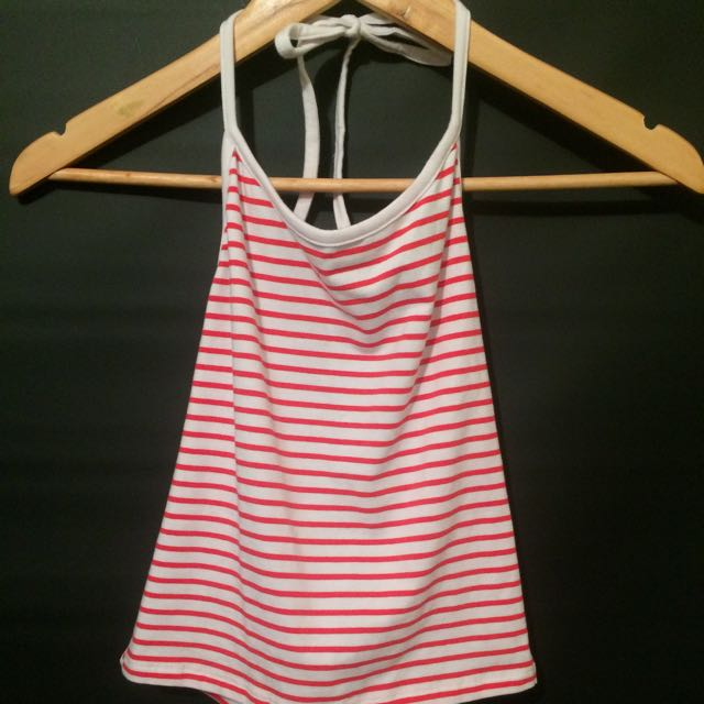 Red And White Striped Crop