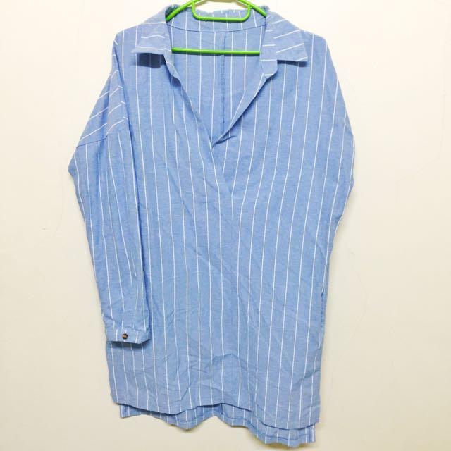 長版條紋V領襯衫