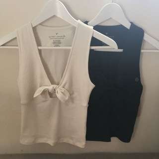 Sleeveless Tie Front Shirts