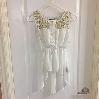 Sleeveless Cream Top With Lace