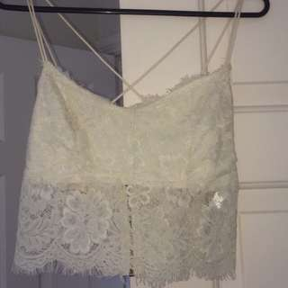 Glassons Cream Lace Back Crop Size XS