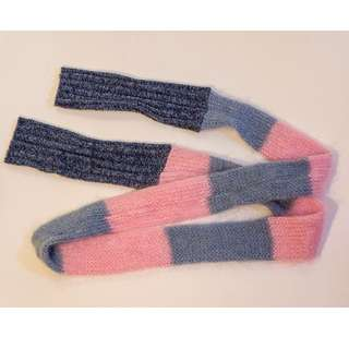Pink and Blue Striped Wool Scarf