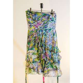Size 8 Sportsgirl Jungle pattern strapless dress with ruffle skirt