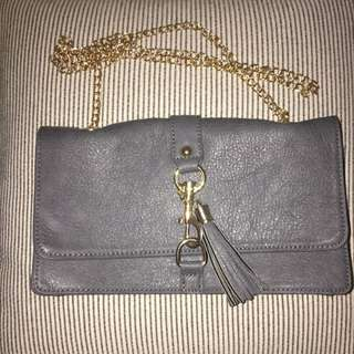 Grey Leather-look Small Bag