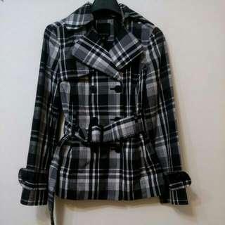 英倫風 經典黑白格紋風衣外套 近全新