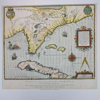 Limited Edition Hand Colored Reproduction Map Of Florida
