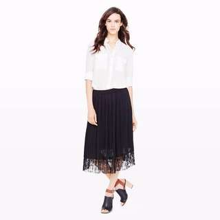 Club Monaco Taura Pleated Lace Skirt in Black in Sz 00 - like new