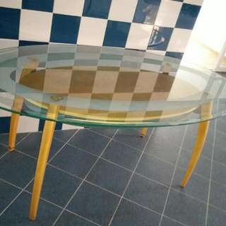 Oval Glass Top Kitchen Table L180xW100cm