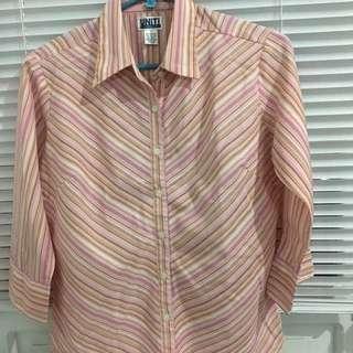 3/4 Sleeves Peach Striped Blouse