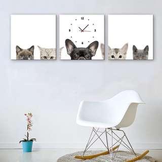 ✨超值感✨ 毛寶貝 無框時鐘 三幅一組 附機蕊
