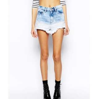 Glamourous Gradient Denim Ripped Distress Shorts size 10