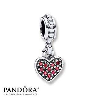 Pandora Red Zirconia Heart Charm