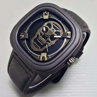 Jam Tangan Pria Seven Friday Skull Leather || 4 Pilihan Warna