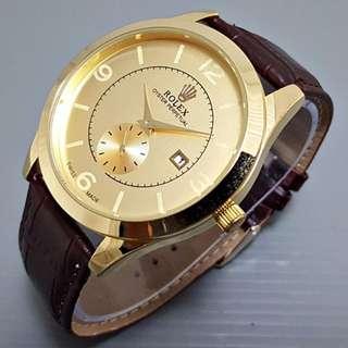 Jam Tangan Pria Rolex Number Chrono Detik Leather || 3 Pilihan Warna