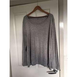 PLUS SIZE GREY SWEATER / BLACK ELBOW PATCHES