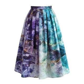 Quartz Crystal Heart Printed Midi Skirt