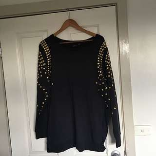 PLUS SIZE - NAVY BLUE JUMPER WITH GOLD GEMS