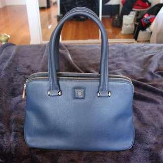 David Lawrence Leather Saffiano Blue Hand Bag