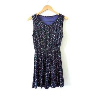 Vintage Dress Umbrella Pattern Blue Navy Cotton Mini Dress / Terusan Motif