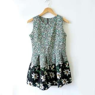 BRAND NEW Flower Pattern Mini Dress / Terusan Gaun Motif