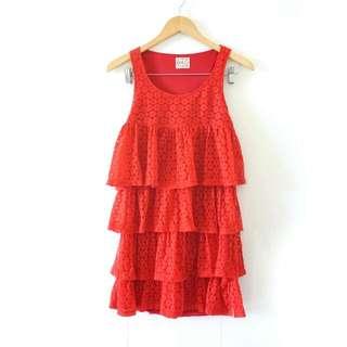 Red Layered Dress / Gaun Terusan Merah Lapis