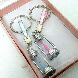 Blue Pink Sand Timer Lantern Couples Keyrings